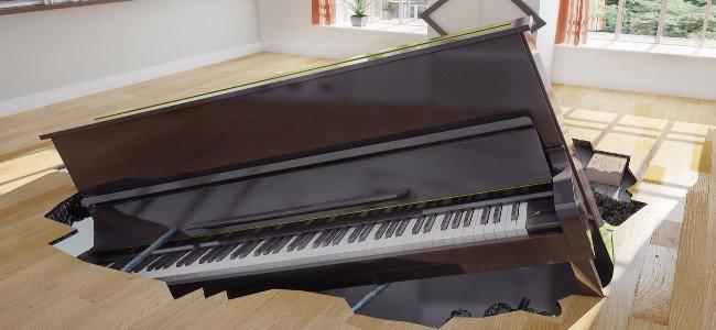 piano falling through floor